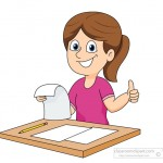 student happy with exam results clipart
